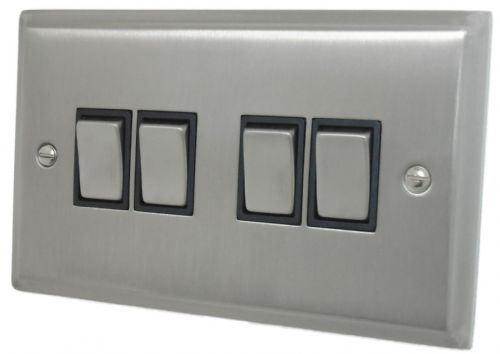 G&H DSN304 Deco Plate Satin Nickel 4 Gang 1 or 2 Way Rocker Light Switch